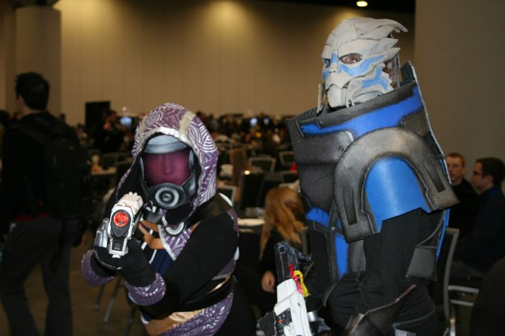 Tali'Zorah nar Rayya, and  Garrus Vakarian from mass effect. A great game with a meh ending :P