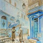 """""""Шефшауэн. Синий город 3"""" акварель, гуашь, пастель. 50x40см. 2017г. """"Chefchaouen. Blue city 3"""" watercolor, gouache, pastel."""