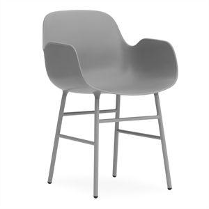Normann Copenhagen stol - Form Stol m. armlæn i grå/stål