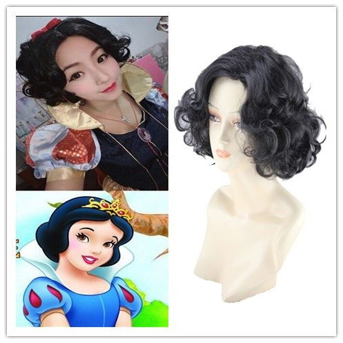 Cosplay Wig For Snow White Princess Short Sexy Ladies Short Black Hair Synthetic Hair Wigs Costume Party Pelucas Peruk