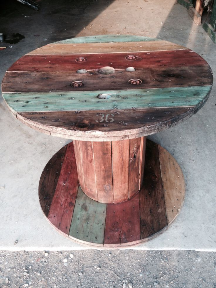 Wood spool deck table Annie Sloan Chalk painted & dark wax