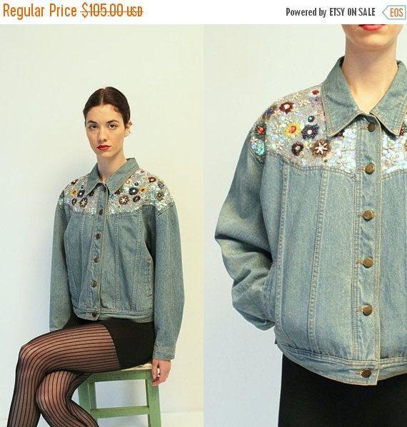 20% OFF Vintage Sequin Jeans Jacket