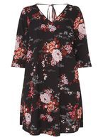 Womens DP Curve Plus Size Floral Print V-Neck Swing Dress- Multi Colour