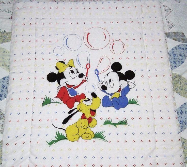 Vtg 80 S Dundee Disney Baby Blanket Comforter Mickey
