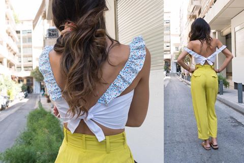 """**SUPER SALES DAY 4** order now the """"MIRANDA"""" high waisted trousers in lime and """"THE LOVERS"""" bustier // white-floral stripes in SUPER DUPER WOW price!! #karavan #karavanclothing #karavangirl #miranda #trousers #lovers #bustier #ss16 #summer16 #summer #love #greekdesigners"""