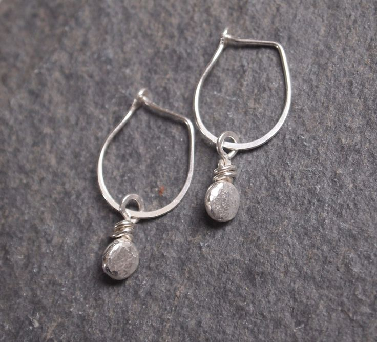 Silver dangle drop earrings, silver pebble on handmade silver hoop drop earring, recycled silver, handmade by ARC Jewellery UK by ARCJewellery on Etsy https://www.etsy.com/uk/listing/223518582/silver-dangle-drop-earrings-silver