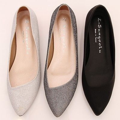 BN-Womens-Low-Kitten-Heels-Pointed-Toe-Bling-Bling-Ballet-Flats-Ballerina-Shoes