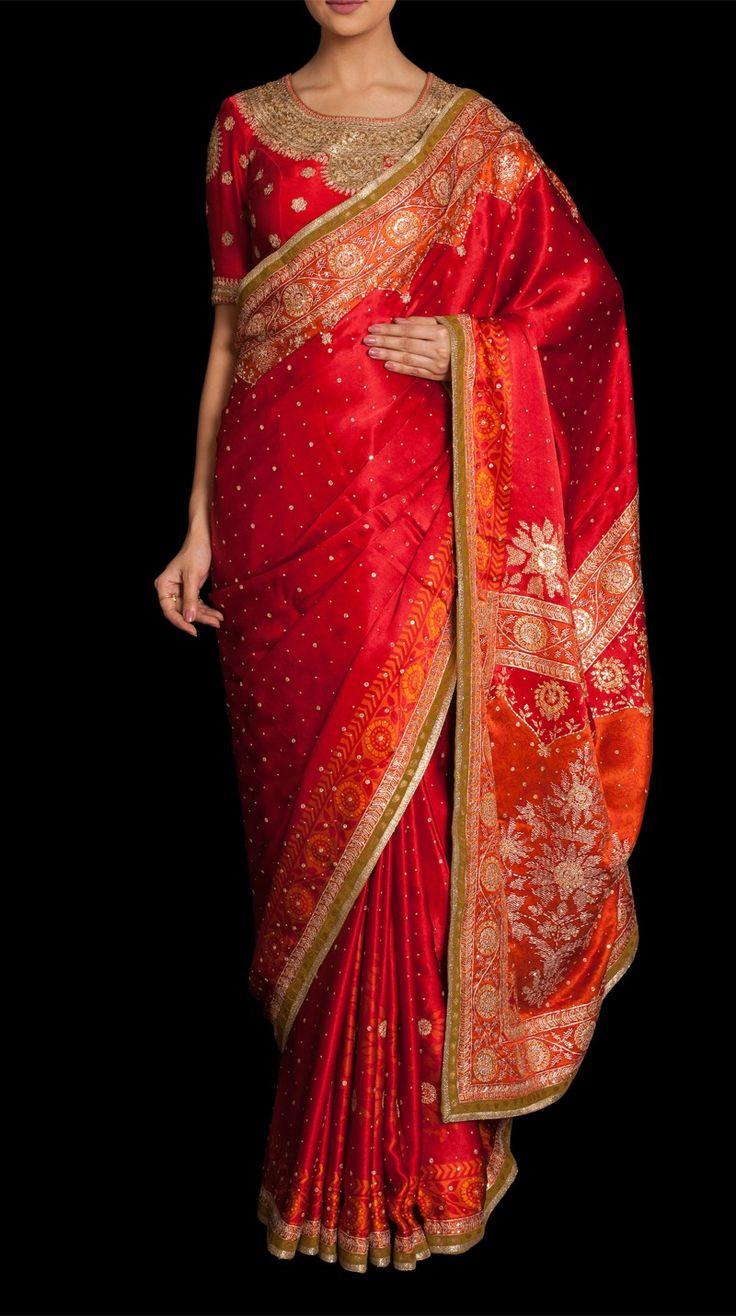 Sikander Red Embroidered Sari