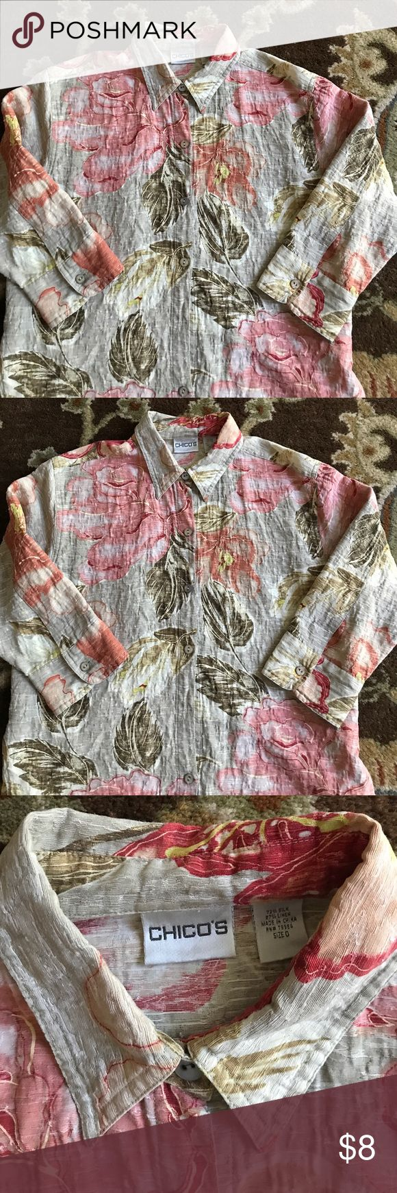 Chicos buttoned down shirt size 0 Hawaiian style buttoned down shirt. 3/4 sleeved collared. Missing a button. Size 0 but fits more like a medium Chico's Tops Button Down Shirts