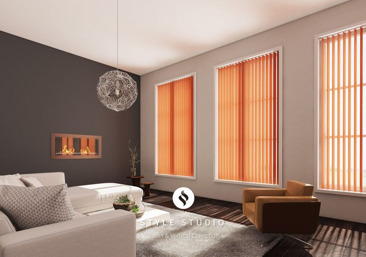 Style Studio Orange Vertical Living Room Blinds. Vertical blinds. Modern window dressing. Contemporary orange colour inspiration for the living room.