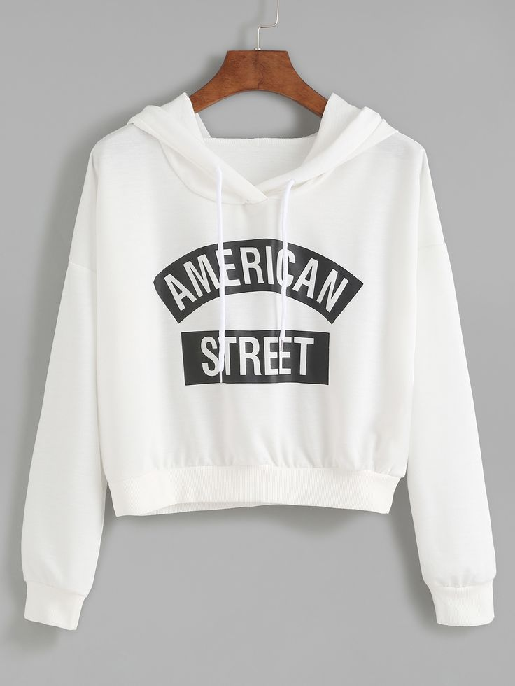 15$ Watch now - http://dixey.justgood.pw/go.php?t=7797 - White Letter Print Hooded Sweatshirt 15$