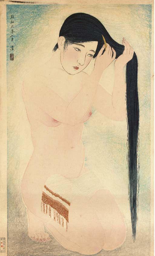 Kobayakawa Kiyoshi (1889-1948) - Kurokami (Glossy dark hair), from the series Kindai jisesho no (Women's manners of today), uchi go, no. 5