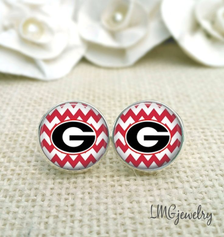 University of Georgia Earrings, Georgia Bulldog Earrings, UGA Jewelry, UGA Earrings, Red Chevron Studs by LMGjewelry on Etsy