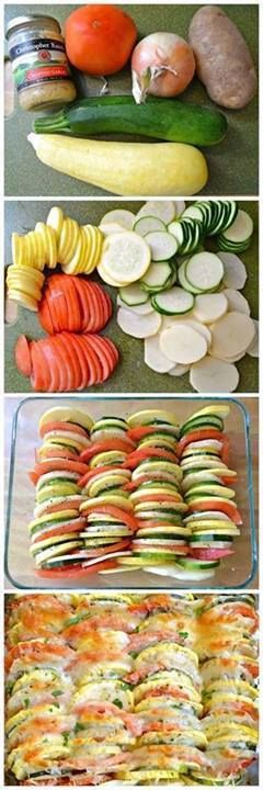 Tomatos, zuchini, onions, potatos, sliced thin, herbs/seasonings to taste, butter or olive oil, parmsan cheese... fresh tomato or tomato/bell pepper sauce if desired... layer and bake... voila...
