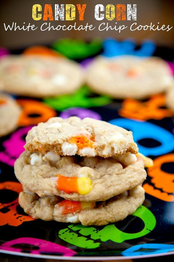 Candy Corn Cookies: Soft and chewy cookies studded with creamy white chocolate chips and candy corn.