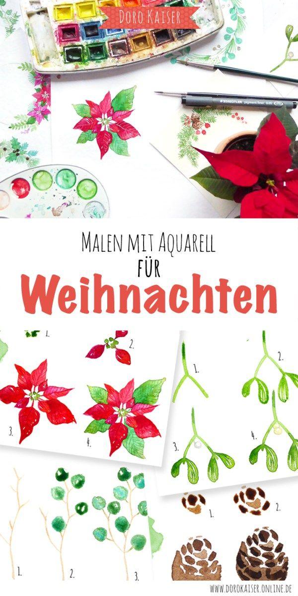 Malen Lernen mit Aquarell - weihnachtliche Mini Mal Anleitung: Weihnachtskranz  www.dorokaiser.online.de