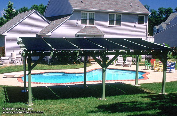 Solar Living - Fair Lawn, NJ, United States. Pergola solar pool heating system. Free heat for a warmer pool and a place to get out of the blazing sun.