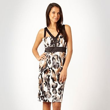 Ivory animal printed satin evening dress - How can you not look great in this!  More info here: http://fave.co/QmmWWe