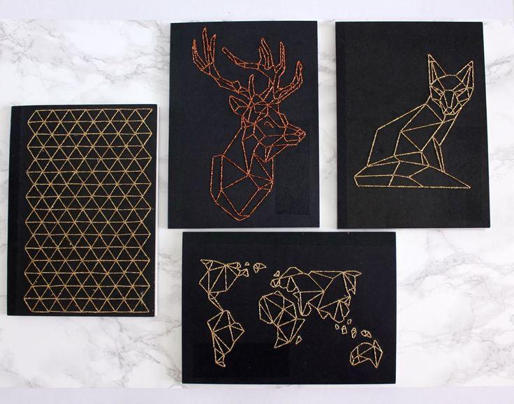 DIY: Geometric Embroidered Notebook Urban Fox DIY http://www.urbanfoxdiy.com/