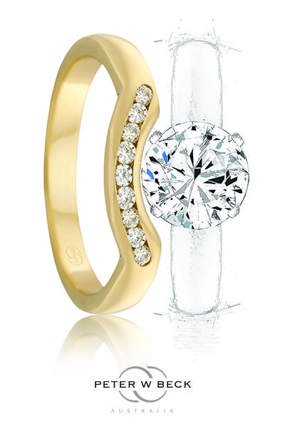 A Fitted Wedding Ring by Peter W Beck is a gorgeous design capable of sitting up snug with your engagement ring. #peterwbeck #wedding #ring #gold #jewellery #jewelry #diamond