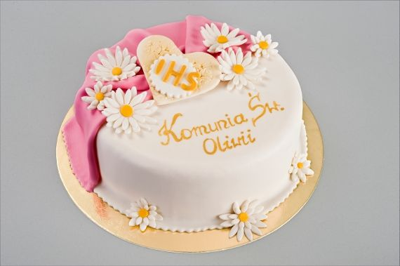 Tort Komunijny kwiatki Porcja 10 – waga 1000g- 1200g Porcja 14 – waga 1300g- 1700g Porcja 18 – waga 1800g- 2300g Porcja 24 – waga 2400g- 3000g