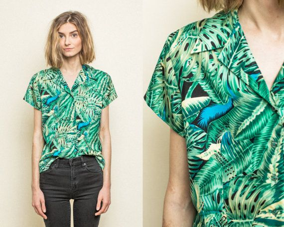 Vintage Topical Aloha Womens Hawaiian Print Shirt Blouse