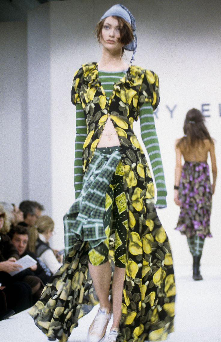 #PerryEllis Spring 93: #Grunge Collection | It was the collection that got @marcjacobs fired from Perry Ellis. It was the show that made his career. With #KurtCobain and #CourtneyLove in the newspapers and their music dominating both the radio waves and @mtv, a 29-year-old Jacobs sent flannel shirts, printed granny dresses, Dr. Martens, and knitted skullcaps down the runway. Seen later at both the eponymous label he launched with Robert Duffy, and at @LouisVuitton in 1997 |  @voguemagazine