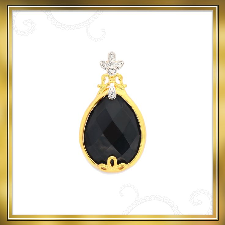 Look gorgeous in this Black Onyx and White Topaz pendant that is made in Gold Plated Sterling Silver   Shipping across India