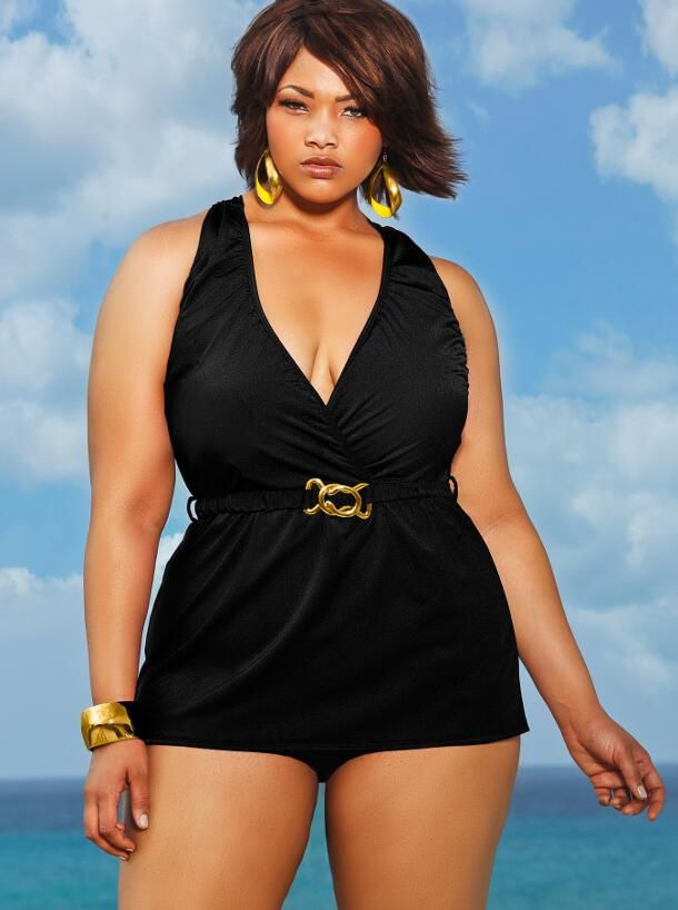 MOZAMBIQUE HALTER PLUS SIZE SWIM DRESS - BLACK