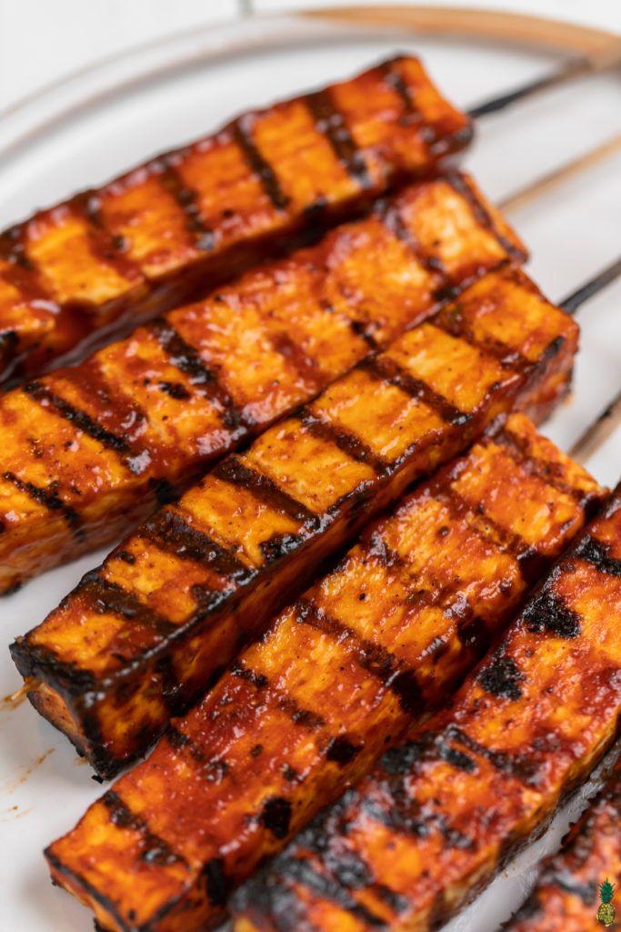 Grilled Barbecue Tofu Skewers Sweet Simple Vegan Recipe Vegetarian Bbq Vegetarian Grilling Barbeque Recipes