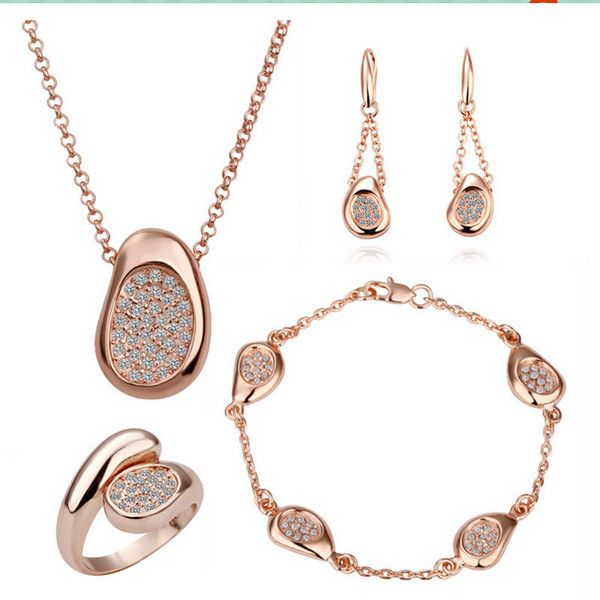 Wholesale Rose Gold Color Bridal Jewlery Sets for Women Wedding with High Quality AAA Zircon S147
