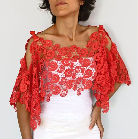 Carmine Red Cotton Lace Stole Shoulder Wrap by mammamiaeme on Etsy, $46.00