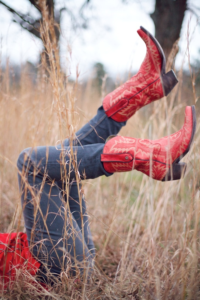 photo by liveviewstudios.com  Red cowboy boots from country outfitters Picture in Field  Album art