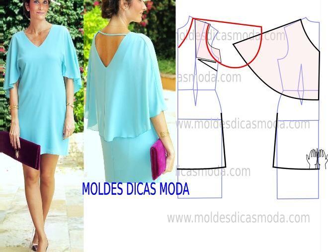 Analise de forma detalhada o desenho do molde do vestido capa. Vestido simples e arrojado que veste de forma muito elegante. Este modelo de vestido tem a p