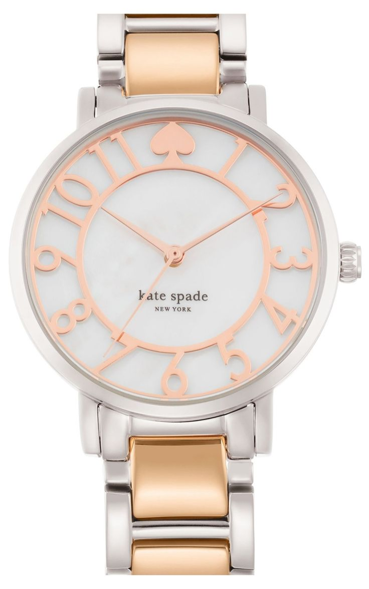 The rose gold detailing on the face of this Kate Spade watch adds soft, feminine touch.