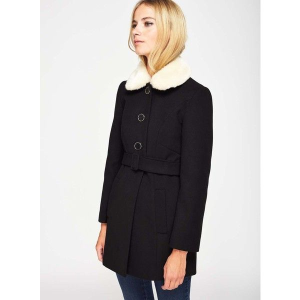 Miss Selfridge PETITE Black Fur Collar Coat ($135) ❤ liked on Polyvore featuring outerwear, coats, black, petite, petite coats, miss selfridge coats, faux fur collar coats and miss selfridge