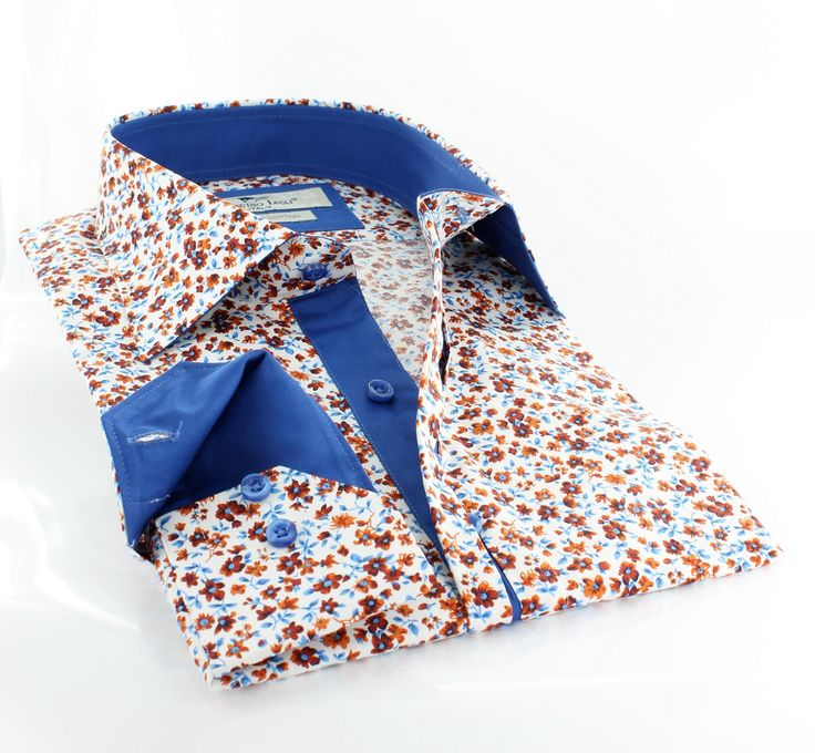 Claudio Lugli men's shirt w. orange and blue flower print http://claudioluglishirts.com/