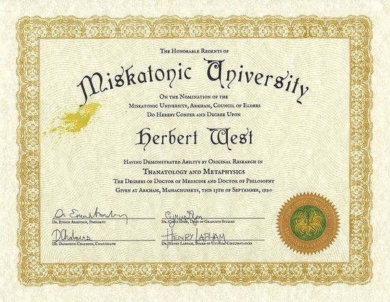 Custom personalized Miskatonic University diploma, 8.5x11