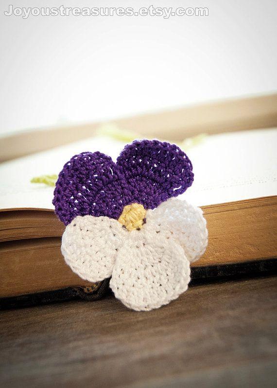 Handmade Crochet Bookmark Violet Pansy Flower by joyoustreasures