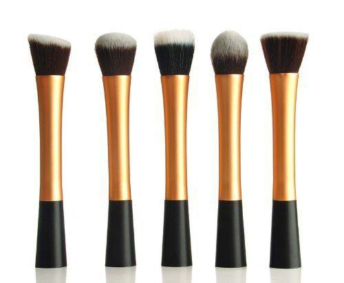 LuxeBell® ® Kit de Pinceau maquillage Professionnel 5PCS Ombre à Paupière Doré Blush Fondation Pinceau Poudre Fond de teint Anti-cerne Kit Pinceaux | Your #1 Source for Beauty Products