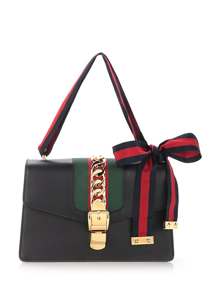 GUCCI Black 'Sylvie' Shoulder Bag In Calf Leather. #gucci #bags #shoulder bags…