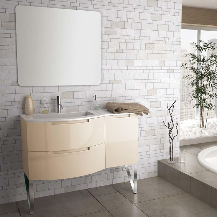 The 43 Inch Modern Floating Bathroom Vanity Sand Glossy Finish With 2 Slow  Close Drawers,