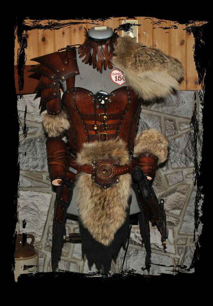 female leather armor barbarian front view by ~Lagueuse on deviantART