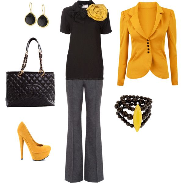 I love the yellow flower!: Black Work Outfit, Yellow Flats, Black Outfits, Big Yellow, Work Outfits, Yellow Jackets, Black Love, Yellow Flower, Yellow Black