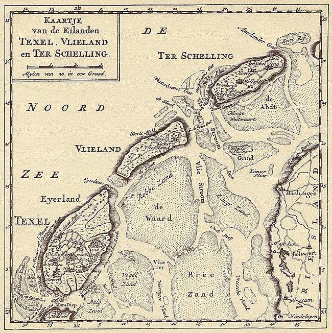 Plattegrond van het Wad + de eilanden
