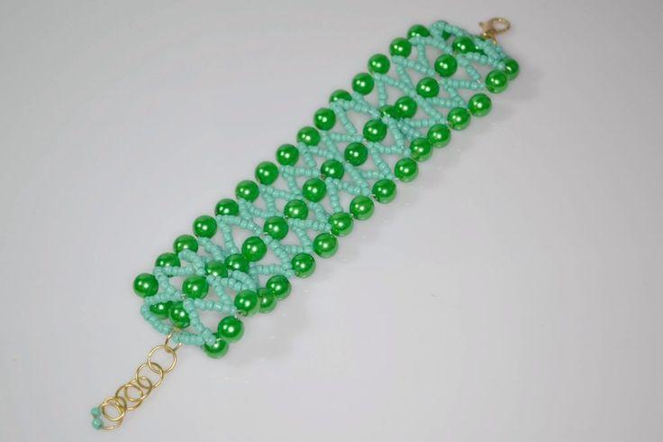Bracciale fai da te Donna Perle Perline Accessori Moda color verde stile schiava