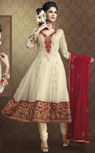 $90.33 Cream Net Long Anarkali Style Salwar Kameez 24379