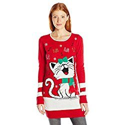 Blizzard Bay Juniors Fal La La Kitty Tunic Sweater, Christmas Red, S
