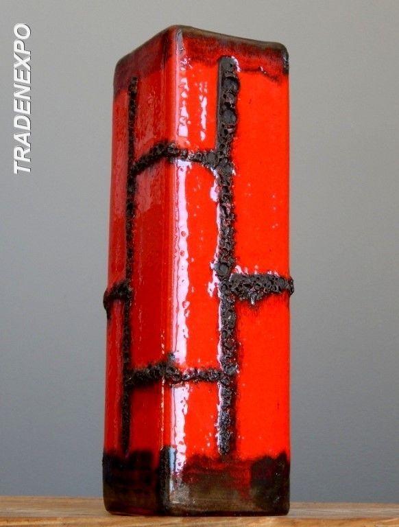 Vintage 60's RUSCHA COSTA Otto Gerharz Fat Lava Red Vase West German Pottery Art