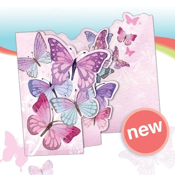 Phoenix Trading greetings card TF22 Pink Butterflies.  Beautiful flittery, glittery tri-fold butterfly card.  Great value at £1.75.  Save a further 20% when you buy 10 or more cards of any design.